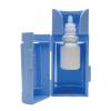 Open blue eye-drop dispenser with eye-drop bottle held inside