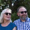 Woman and man wearing the Chloe eyeshield