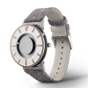 Side view stylish tactile watch with silver and gold-coloured features