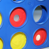 Close up of yellow and modified red discs in the Connect 4 grid