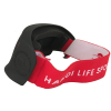 Justa blind sports mask in red from behind showing strap