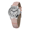 Top angle of say-to-see small watch with pink PU crocodile-effect strap