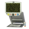 Portable video magnifier showing yellow text on screen
