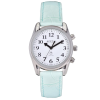 Small radio controlled taking watch with silver case, white face and mint strap