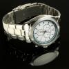Side view steel talking watch with a stainless steel bracelet strap
