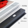 Edge of photo album showing buttons, mic and speakers
