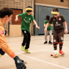Goal shot being set up with the Rainbow blind football.