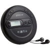 Side view of the Groov-e Personal CD/MP3 player with earphones attached