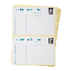 A stack of white self-adhesive postage labels