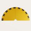 Semi-circular yellow protractor
