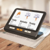HD touchscreen magnifier with the weather on screen