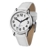 Side angle view of easy-to-see ladies watch with white PU crocodile effect strap