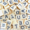 Close-up of bananagrams tiles