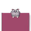 Hippo bookmark on a burgundy book