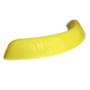 Side view of a single yellow Pan Pickle on a white background